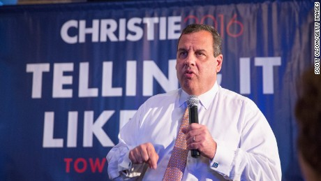 Republican presidential candidate New Jersey Governor Chris Christie speaks to guests gathered for a campaign event at Jersey Grille on July 24, 2015 in Davenport, Iowa.