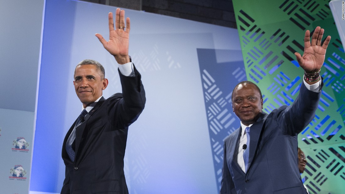Obama and Kenyatta wave July 25 as they leave the Global Entrepreneurship Summit at the United Nations Compound in Nairobi.
