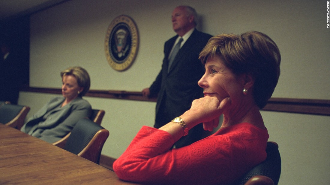 "After their reunion, the President and the first lady ""talked with the Cheneys a bit,"" Laura Bush was to recall. President Bush then went upstairs to prepare for a nationally televised address."