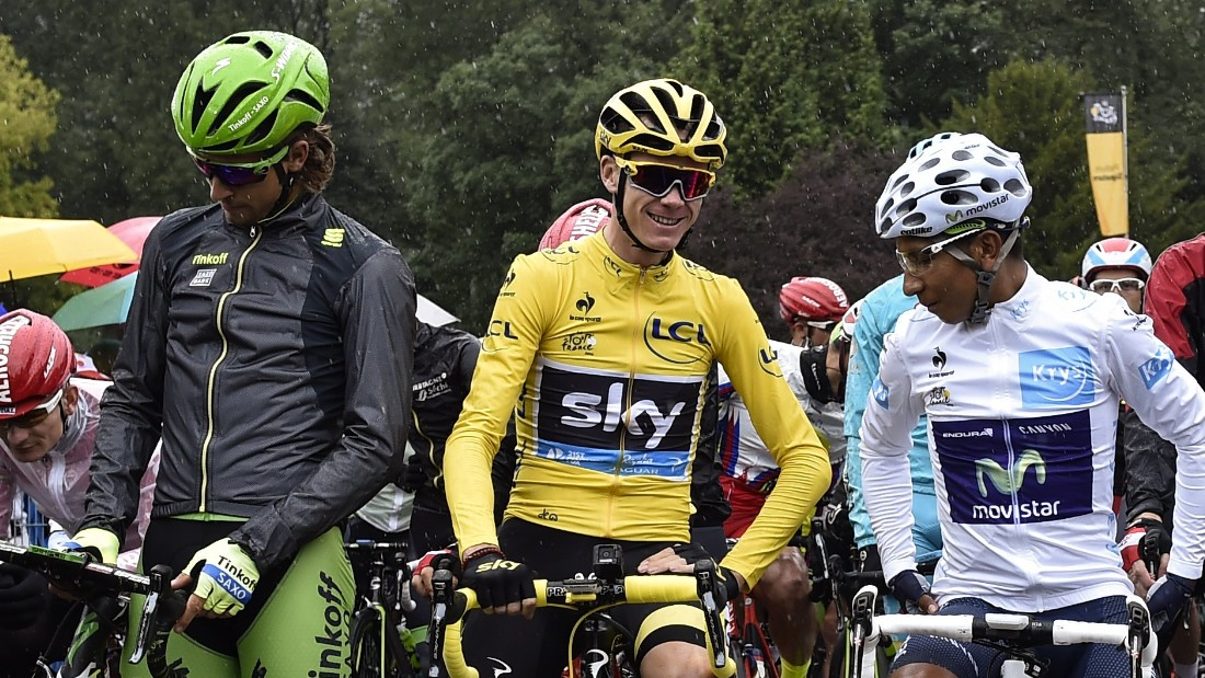 Froome lines up before the start of the final stage with white jersey winner and second placed Nairo Quintana and green jersey winner Peter Sagan.