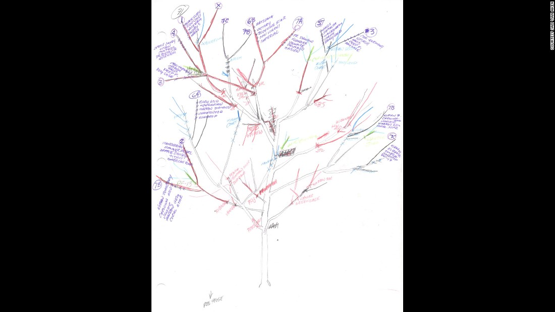 Van Aken diagrams each tree, allowing him to create a tree that blossoms evenly and for up to a month.