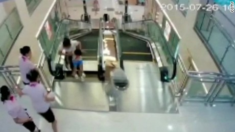 Horrific accident atop escalator