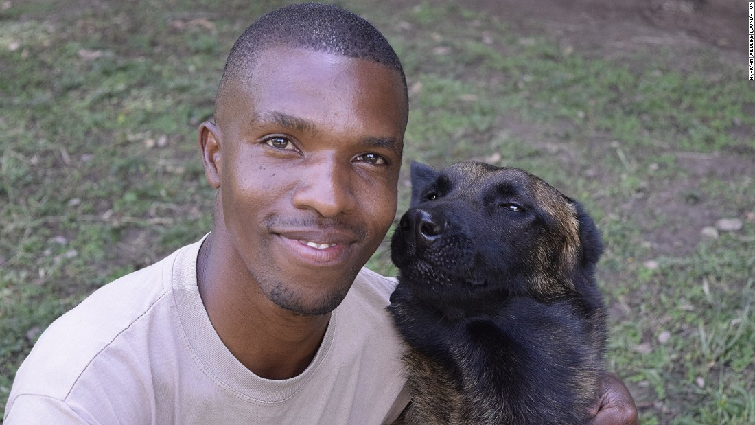 Kenya Wildlife Service ranger-handler William Mariga takes a break with Diva, a female Malinois from Holland. Despite her name, Diva is the most obedient of all the recent dog graduates.