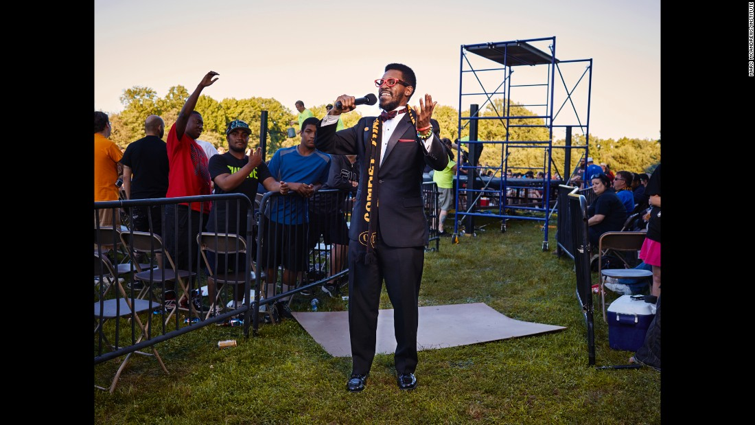 Ring announcer Larry Legend speaks to the crowd in Townsend during an intermission at the CZW Tournament of Death.