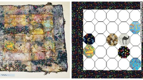 The 90cm by 90cm quilt found with the child's body, with patches of seven panels digitally enhanced on right.