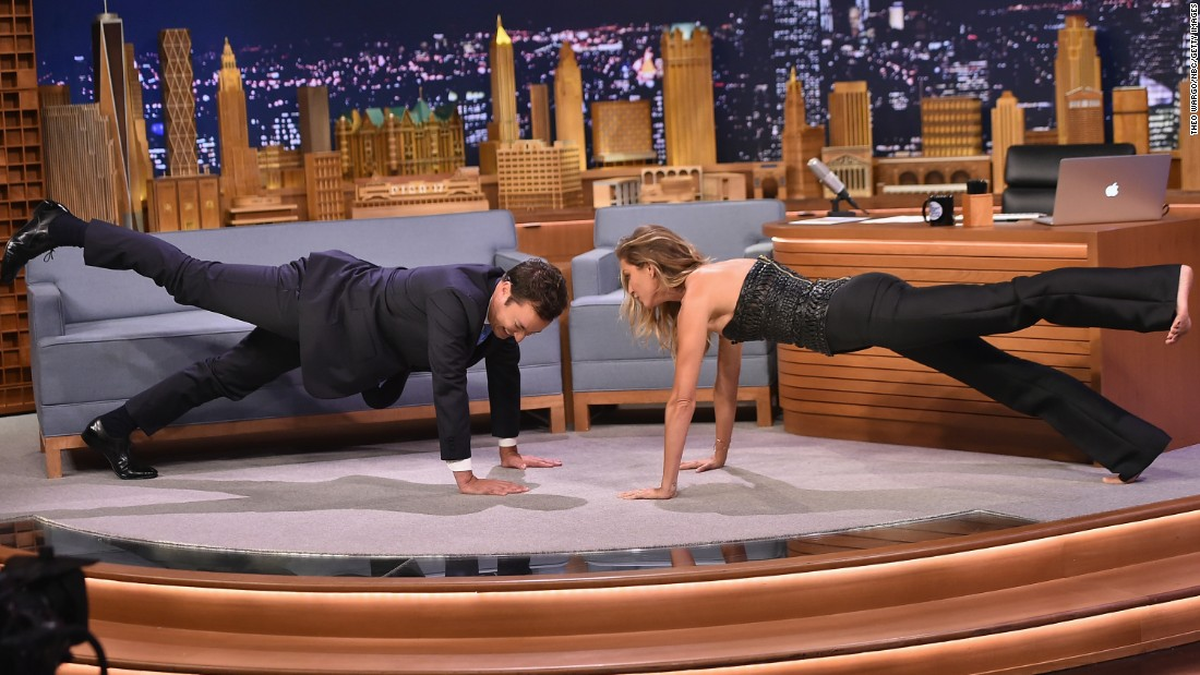 Supermodel Gisele Bundchen -- seen practicing a one-legged plank pose on 'The Tonight Show Starring Jimmy Fallon' -- has adopted yoga as part of her lifestyle.