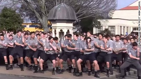 Palmerston North Boys' High School perform a powerful haka for their schoolteacher's funeral.