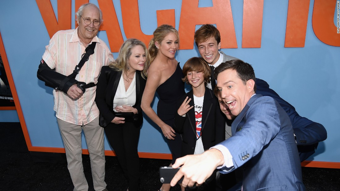 "Stars of the new comedy ""Vacation"" take a selfie together at the film's premiere in Westwood, California, on Monday, July 27. From right are Ed Helms, Chris Hemsworth, Skyler Gisondo, Steele Stebbins, Christina Applegate, Beverly D'Angelo and Chevy Chase."