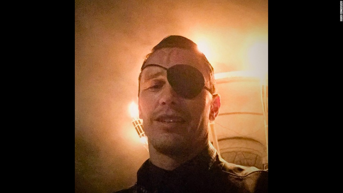 "Actor James Franco wears an eye patch on Monday, July 27. <a href=""https://instagram.com/p/5pNgiKy9bA/"" target=""_blank"">He posted it to Instagram</a> with the caption, ""When you're out on the town and your INNER PIRATE starts swingin' his sword."""