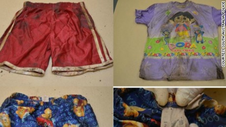 A collection of items of clothing found near the unidentified girl's body.