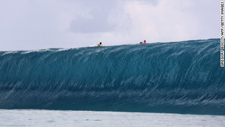 Teahupoo is known for its enormous waves, as this file shot from August 2014 shows.