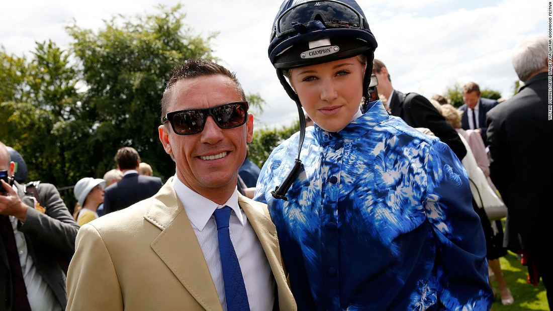 Top jockey Frankie Dettori and Leonora Smee pose for the cameras before the running of the Magnolia Cup.