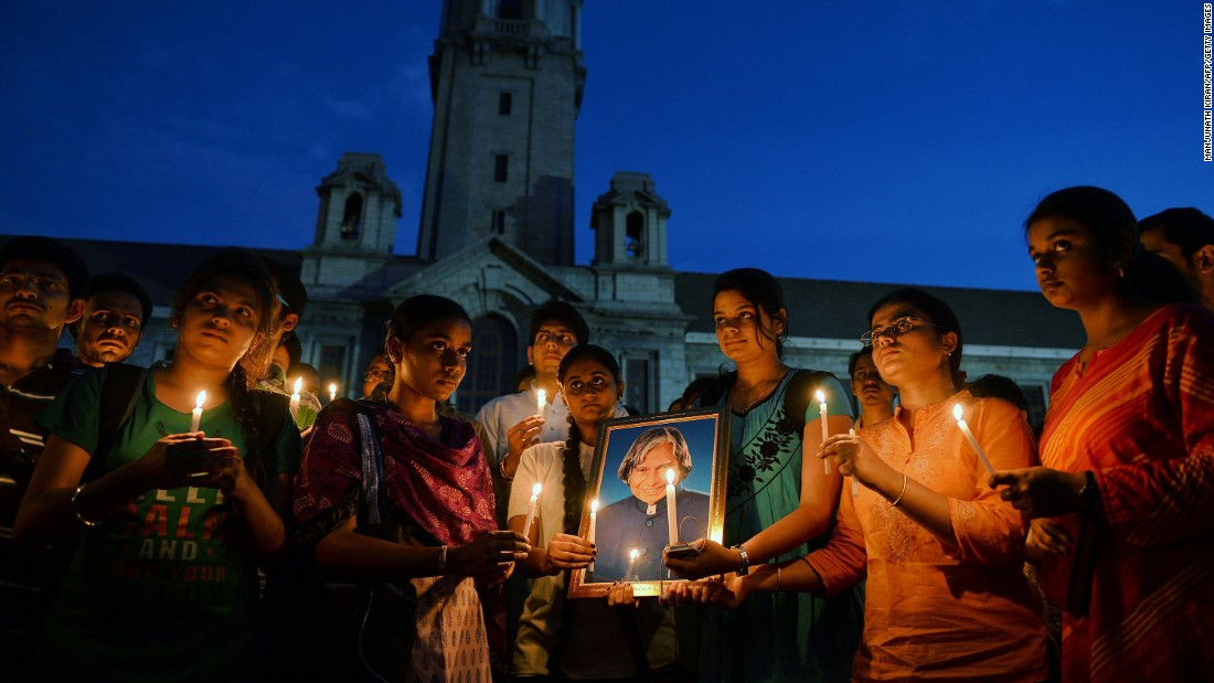 "A candlelight vigil is held in Bangalore, India, to pay tribute to former Indian president <a href=""http://www.cnn.com/2015/07/27/world/apj-abdul-kalam-indian-president-dies/"" target=""_blank"">APJ Abdul Kalam</a>, who died Monday, July 27, at the age of 83. From 2002 to 2007, Kalam was the 11th President of India. He was the first scientist to hold the office, and he was widely viewed as an apolitical figure."