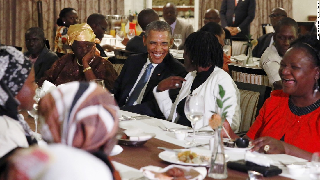 "U.S. President Barack Obama attends a private dinner with family members after arriving in Nairobi, Kenya, on Friday, July 24. Obama was making his first visit to his father's homeland as commander in chief. He also visited Ethiopia during <a href=""http://www.cnn.com/2015/07/25/world/gallery/obama-kenya-ethiopia/index.html"" target=""_blank"">his trip</a>."