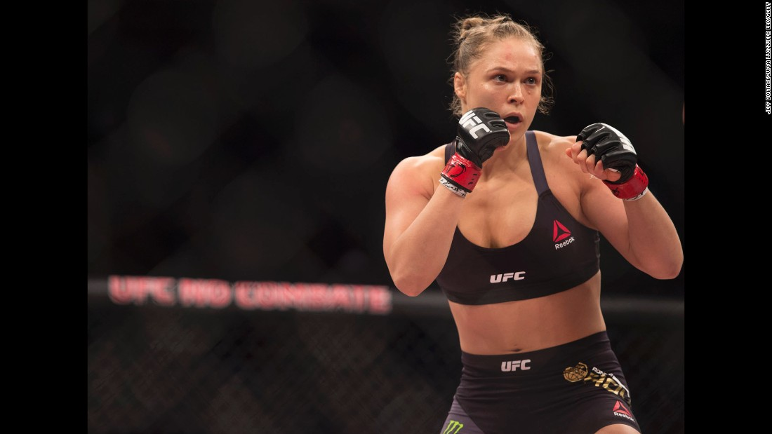 UFC fighter Ronda Rousey, the women's bantamweight champion, has never lost in mixed martial arts, and she holds the UFC record for quickest finish in a title fight: 14 seconds. Rousey also won a bronze medal in judo at the 2008 Summer Olympics.