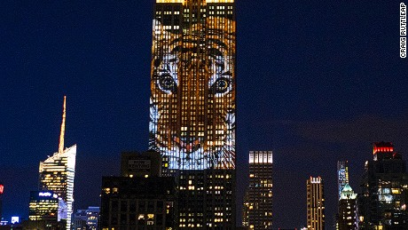 "Large images of endangered species are projected on the south facade of The Empire State Building, Saturday, Aug. 1, 2015. The large scale projections are in part inspired by and produced by the filmmakers of an upcoming documentary called ""Racing Extinction."""