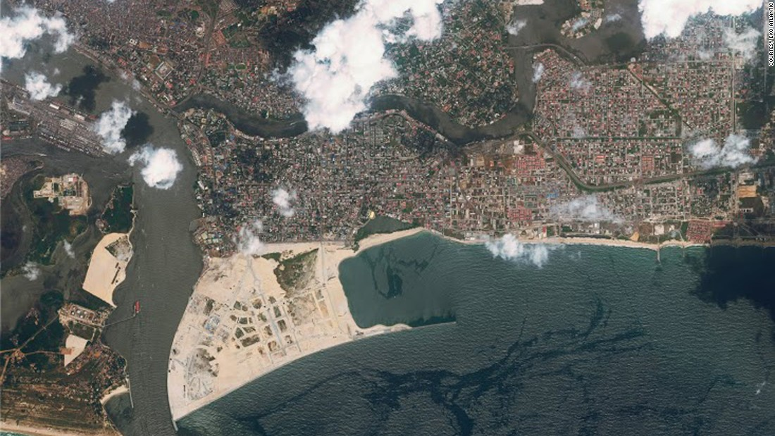It's being constructed on 10 square kilometers of reclaimed land from the Atlantic Ocean, as shown in this satellite image.