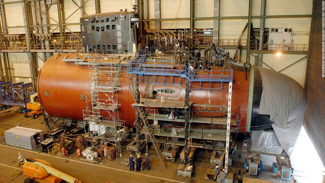 The Warner has no keel. The 337-foot submarine was assembled by welding together approximately 50-foot sections of hull, which had most of what's needed in each section already built in. Here the forward section of the Virginia-class submarine North Carolina is shown under construction in 2006.