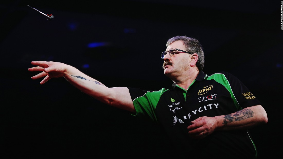 Warren Parry competes in the Super League Darts semifinals Saturday, August 1, in Auckland, New Zealand. Parry defeated Rob Szabo 7-6 but lost in the final to Craig Caldwell.