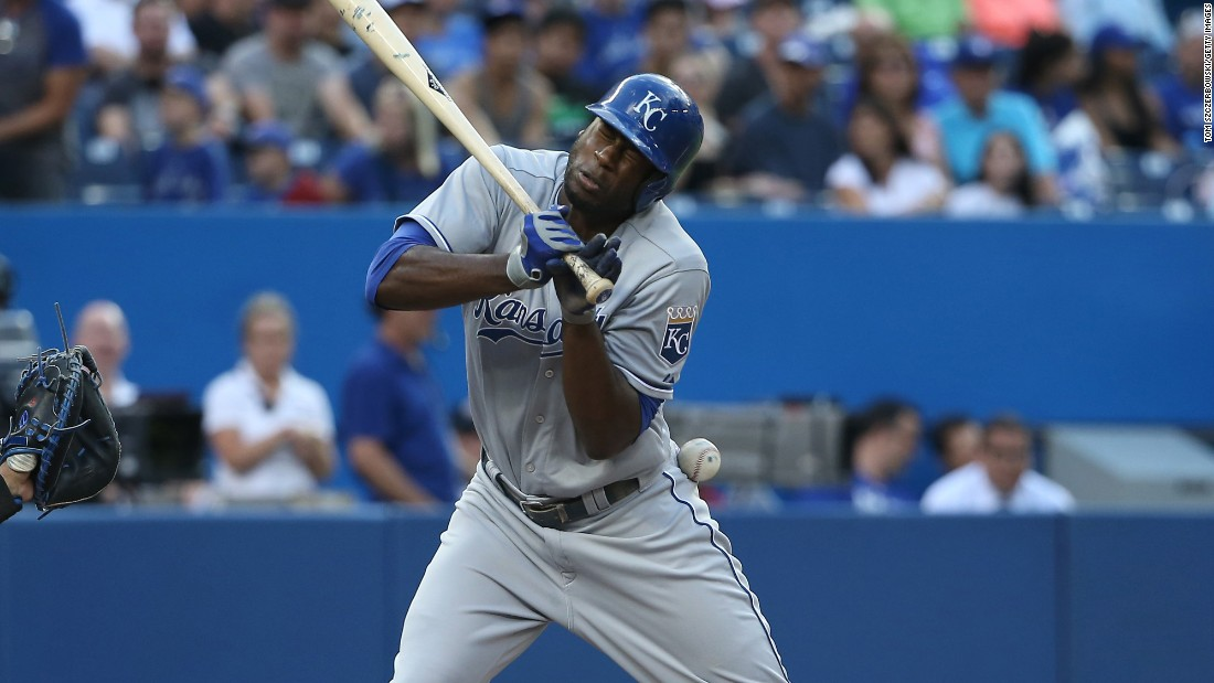 Kansas City's Lorenzo Cain is hit by a pitch during the first inning of a Major League Baseball game in Toronto on Thursday, July 30.