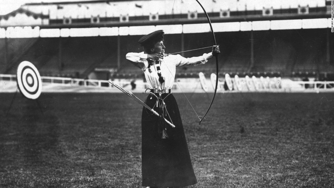 "The only city to have hosted the Olympic Games on three separate occasions, the UK capital made its bow in 1908. Queenie Newall won the ladies' ""double National round"" archery competition at the age of 53."