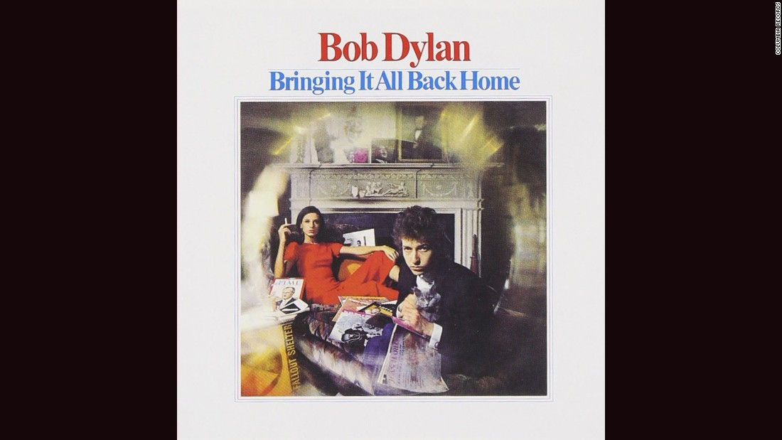 "<strong>""Bringing It All Back Home,"" Bob Dylan</strong>: Dylan's album covers have ranged from great (""Freewheelin',"" ""Nashville Skyline"") to abysmal (""Empire Burlesque""). But perhaps the most Dylan-esque is this 1965 entry, photographed by Daniel Kramer. A fallout shelter sign? A woman in red (manager Albert Grossman's wife, Sally)? That gray cat? Whatever Dylan's trying to say, this cover encapsulates it ... somehow."