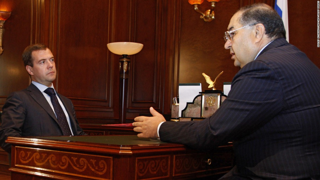 Usmanov, who initially made his money in metal and mining operations, is a close ally of Russian President Vladimir Putin and was awarded one of Russia's highest civil awards in recognition of his charitable and philanthropic activities in 2013 (the Order for Services to the Fatherland Fourth Class). In this picture from 2008, he is talking to then Russian President Dmitry Medvedev.