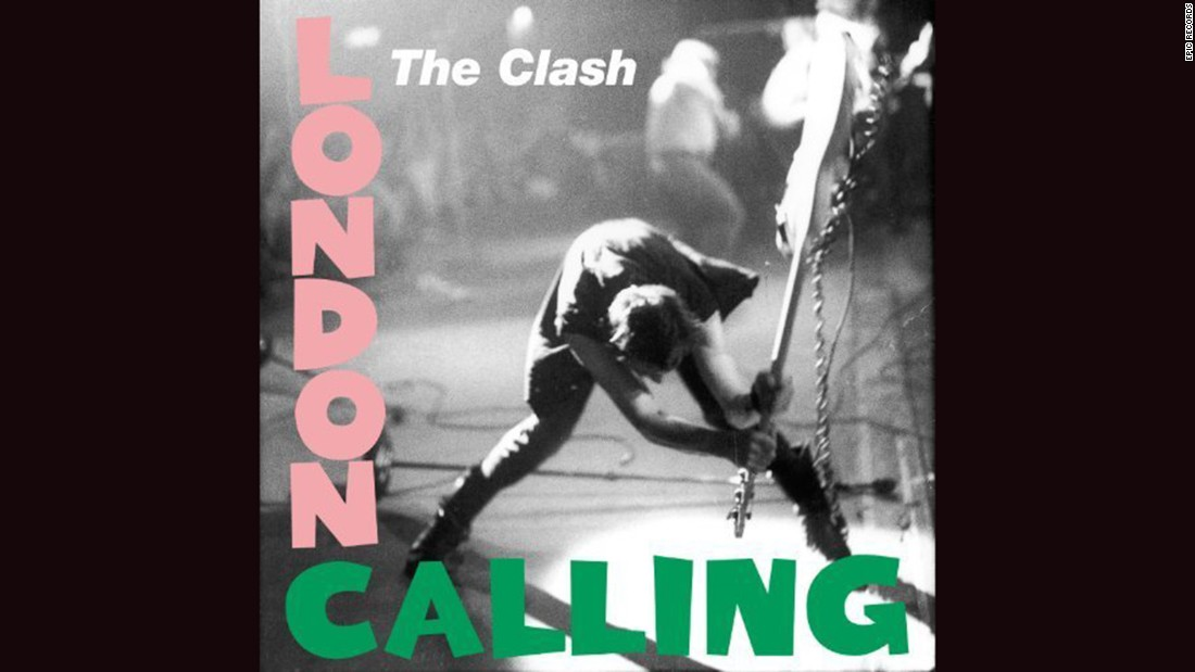 "<strong>""London Calling,"" the Clash</strong>: ""The only band that mattered"" did Elvis Presley one better with their 1979 album, using the design of <a href=""https://en.wikipedia.org/wiki/Elvis_Presley_(album)#/media/File:Elvis_Presley_LPM-1254_Album_Cover.jpg"" target=""_blank"">Presley's 1956 debut</a> and coupling it with a ferocious Pennie Smith photograph of Paul Simonon smashing his bass. The music was equally fierce."