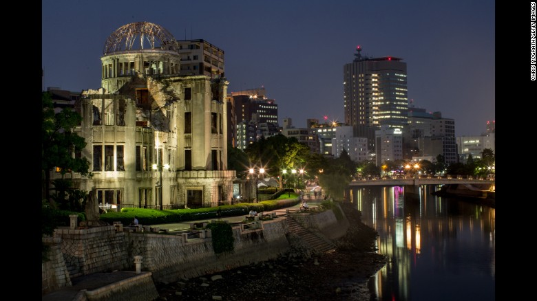 People are seen visiting the Atomic Bomb Dome at the Hiroshima Peace Memorial Park on August 5, 2015 in Hiroshima, Japan.