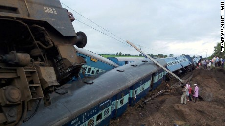 Two Indian passenger trains were derailed after they were hit by flash floods on a bridge outside the town of Harda in Madhya Pradesh on August 5, 2015.