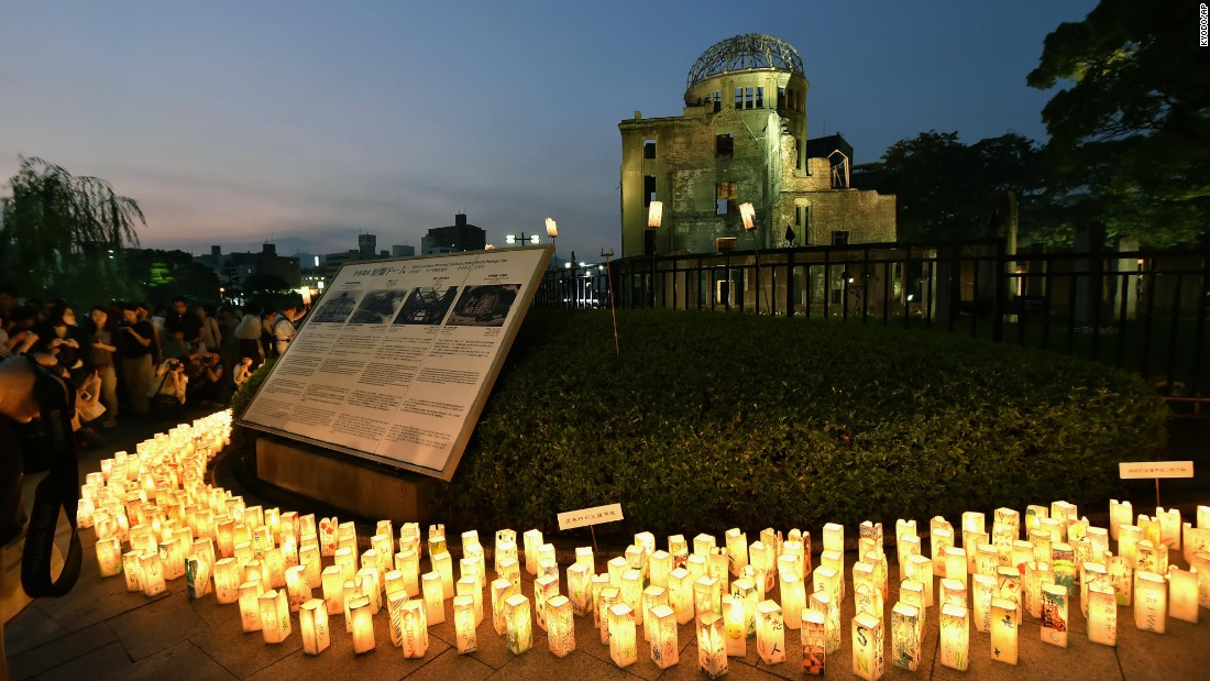 Candles are lit around the Hiroshima Peace Memorial in Hiroshima, Japan, on Thursday, August 6.