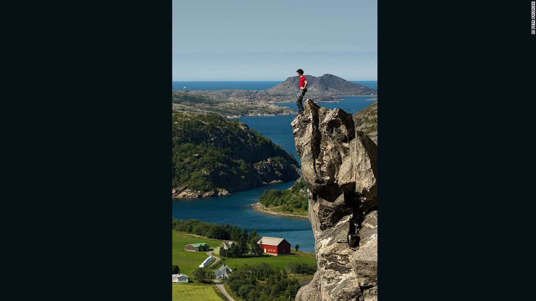 Ondra surveys the landscape around Flatanger in Norway.