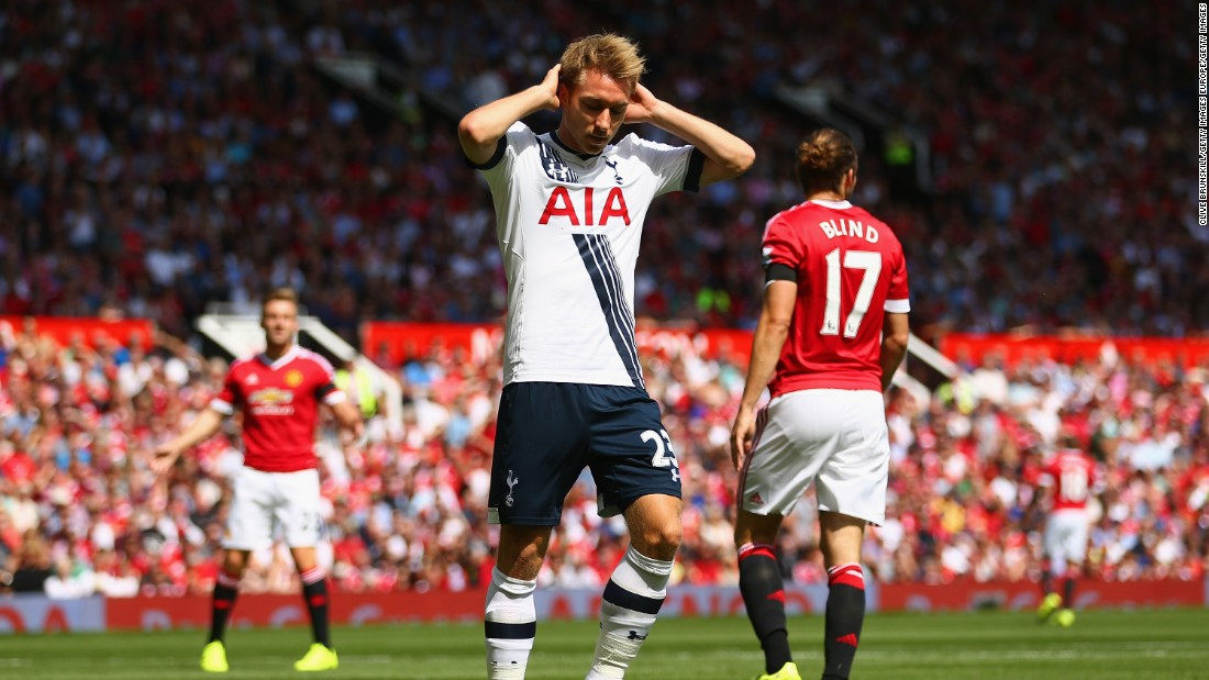 Christian Eriksen of Tottenham Hotspur reacts after missing a chance during the Barclays Premier League match between Manchester United and Tottenham Hotspur at Old Trafford on August 8, 2015 in Manchester, England.