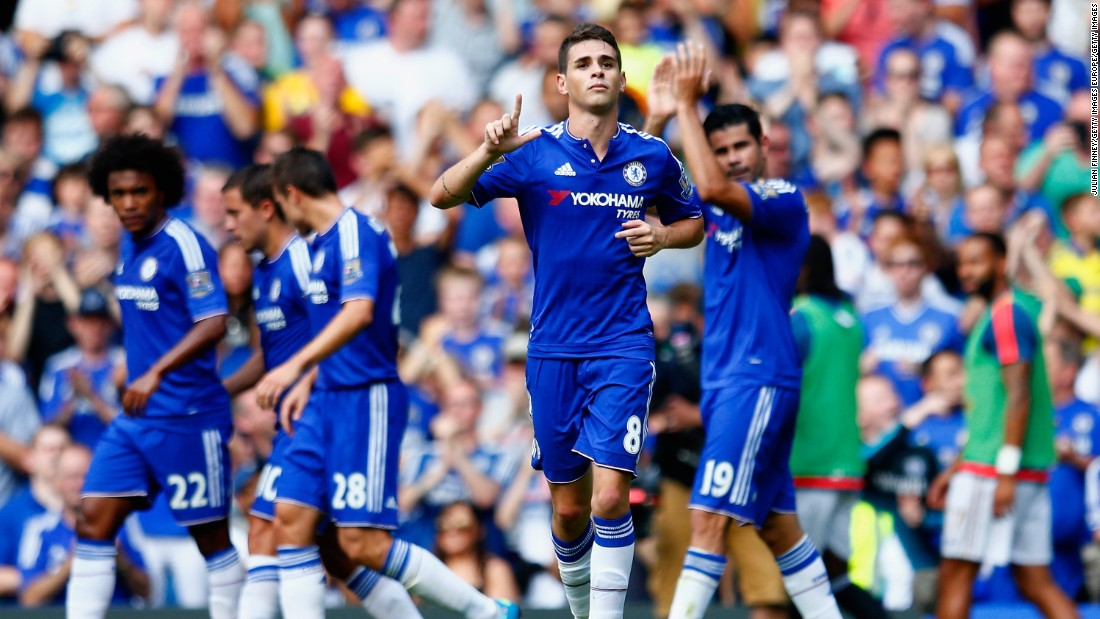 Oscar of Chelsea celebrates scoring his team's first goal during the Premier League match between Chelsea and Swansea City at Stamford Bridge in the first day of the 2015-2016 campaign.