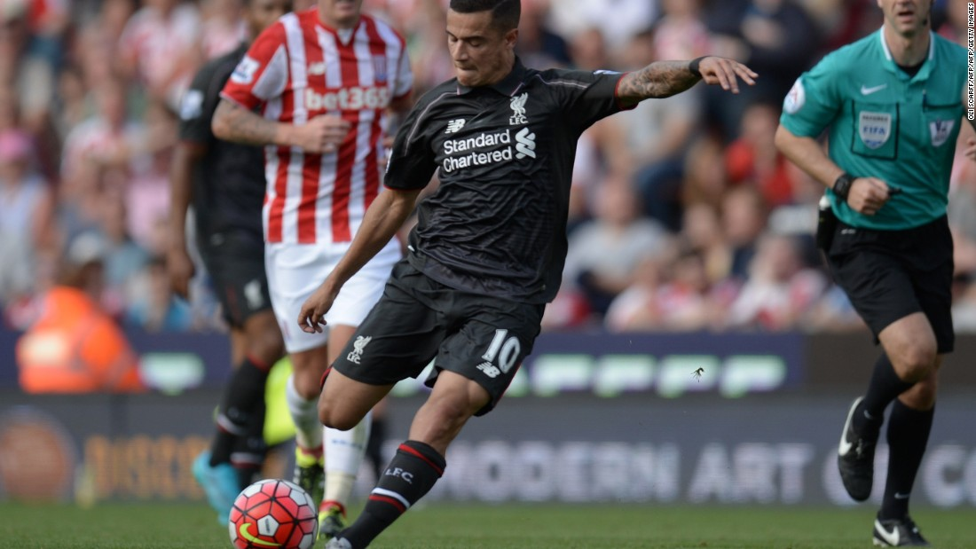 Liverpool's Brazilian midfielder Philippe Coutinho unleashes his tremendous late strike to give his side a 1-0 win over Stoke City at the Britannia Stadium.