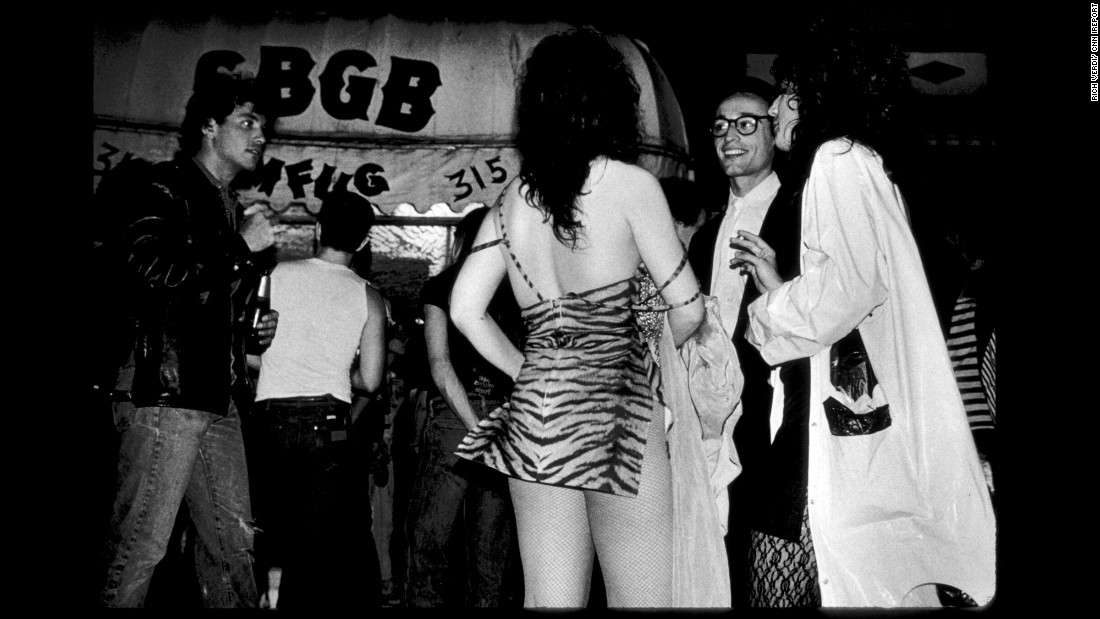 A typical scene outside CBGB in 1978.