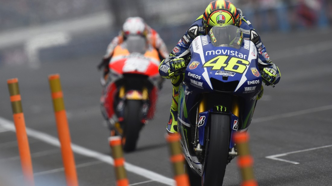 Nine-time world champion Rossi in action at Indianapolis earlier this month. The Italian won the opening round of the championship in Qatar following it with victory two races later in Argentina. His third victory came in the Netherlands at the end of June.