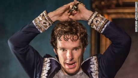 "Actor Benedict Cumberbatch in ""Hamlet"" at the Barbican Theatre in London."