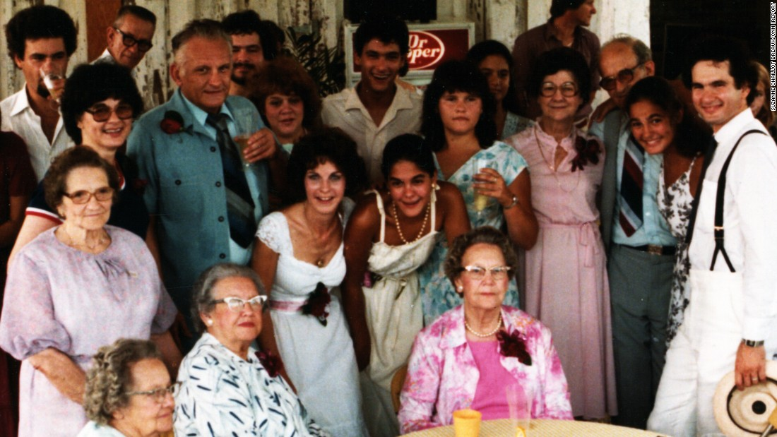 "Jane Alice Bernard Chaillot (middle row, left, in dark shirt and glasses) at her eldest son's wedding in 1980. ""My mother was a very popular individual. She didn't want to miss a party, a festival or a crab boil,"" said Johnny's sister Suzanne Chaillot Breaux."