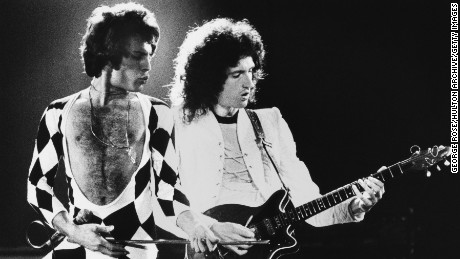 Singer Freddie Mercury and guitarist Brian May of the rock group Queen perform during a 1978 concert.