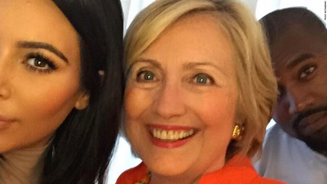 "Television personality Kim Kardashian West poses with her husband, Kanye West, and presidential candidate Hillary Clinton. ""I got my selfie!!! I really loved hearing her speak & hearing her goals for our country!"" she <a href=""https://instagram.com/p/6EUJcIuSw9/"" target=""_blank"">wrote on Instagram</a> on Thursday, August 6. <a href=""http://www.cnn.com/2015/08/12/living/gallery/selfies-look-at-me-0811/index.html"" target=""_blank"">See that and more in this week's selfie gallery.</a>"
