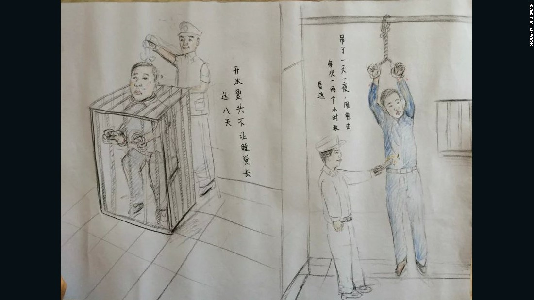 "Left: ""Head was scalded from boiling water and I was deprived of sleep for eight days,"" said Liu Renwang, who was wrong convicted of murder in China. Right: ""Hung up for 24 hours, and lost consciousness by electric shocks that each lasted one to two hours,"" said Liu."