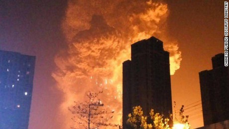 An explosion took place in China's northern city of Tianjin late Wednesday, August 12, 2015 evening, according to China's state-owned broadcaster CCTV. The explosion occurred at a container port where flammable material was being stored in containers, says CCTV. Residents report hearing loud explosions and feeling strong tremors nearby. The Teda Hospital, located near the scene of explosion, has received more than 50 injured people, the country's state-run Xinhua news agency reported.