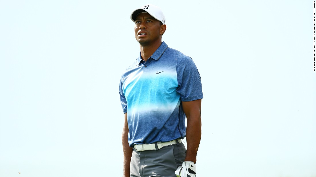 A frustrated Tiger Woods was caught by TV microphones dropping the F-bomb as he ended the opening day three over par.