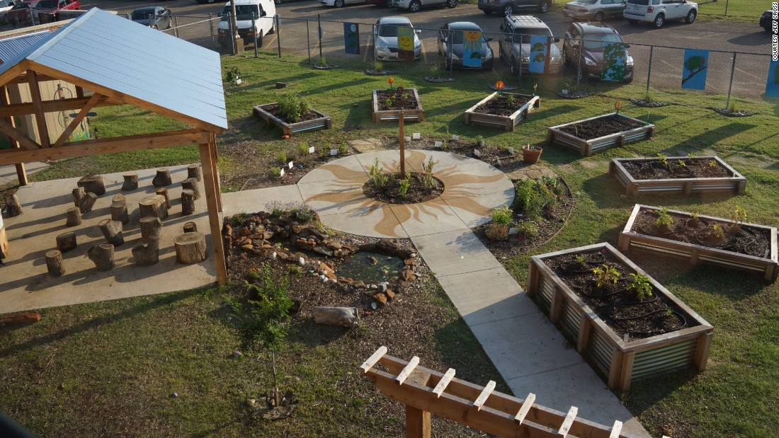 At their elementary school, Sudie Williams students have their math, science, and language arts classes in the school garden.