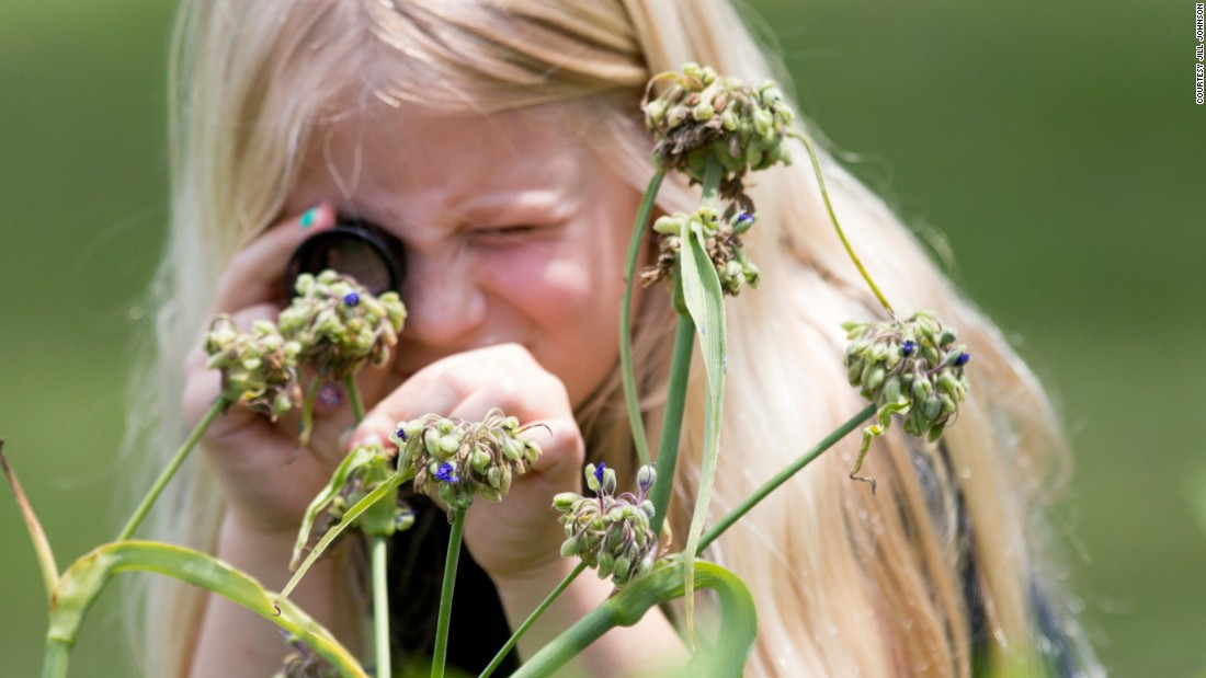 Another student at Burton Hill examines a flower in her school garden through a magnifying glass.