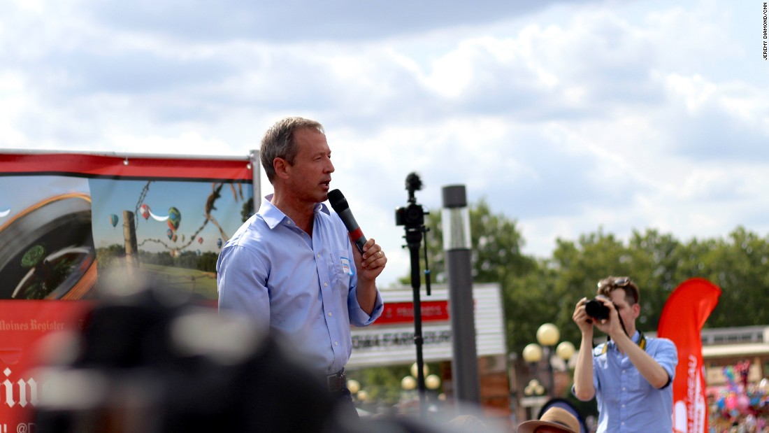 "One of the Democratic hopefuls, former Maryland Gov. Martin O'Malley, <a href=""http://www.cnn.com/2015/08/13/politics/martin-omalley-bernie-sanders-iowa/index.html"" target=""_blank"">addresses</a> fairgoers on August 13."