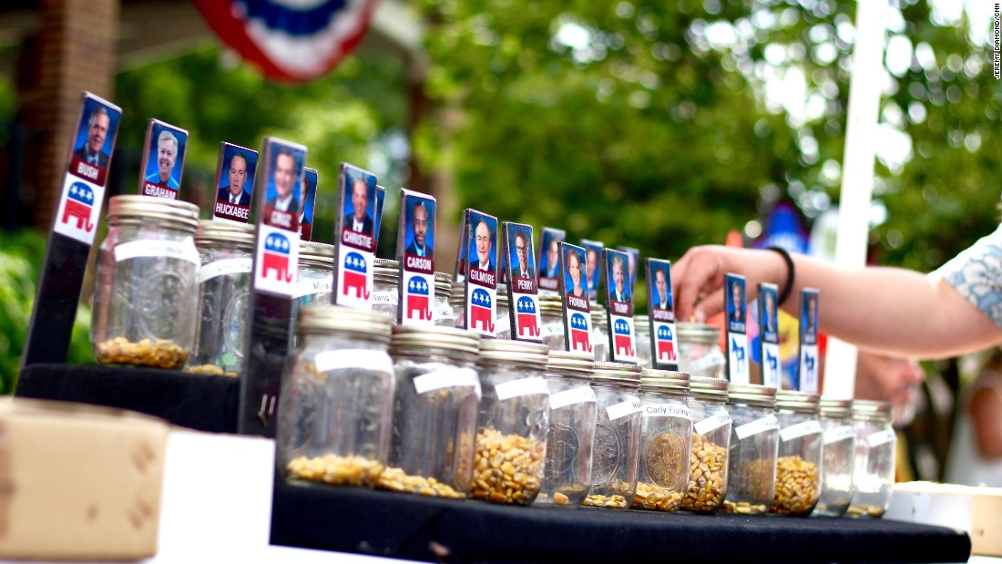 The first votes of the presidential primary season -- the Iowa caucuses -- are nearly six months away, but attendees of the Iowa State Fair can conduct a straw poll of their own ... well, a corn-kernel poll. Results will be tallied at the end of the fair.