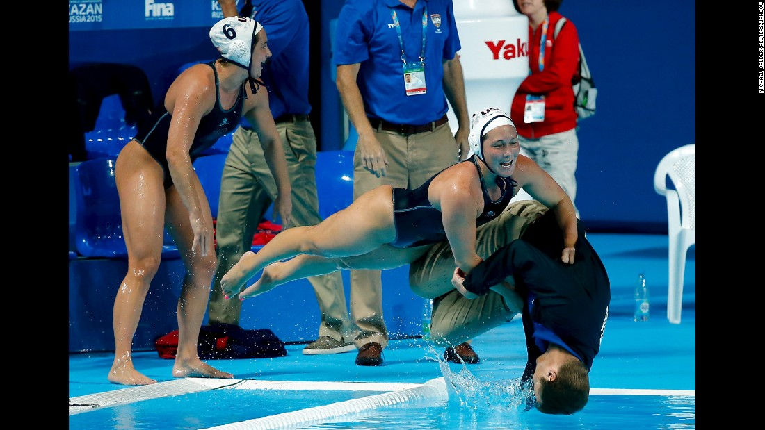 "U.S. water polo players push head coach Adam Krikorian into the pool after they defeated the Netherlands in their women's water polo gold medal match during the Aquatics World Championships in Kazan, Russia, on Friday, August 7.<a href=""http://www.cnn.com/2015/08/11/sport/gallery/what-a-shot-sports-0810/index.html"" target=""_blank""> See more amazing sports photos from this week. </a>"