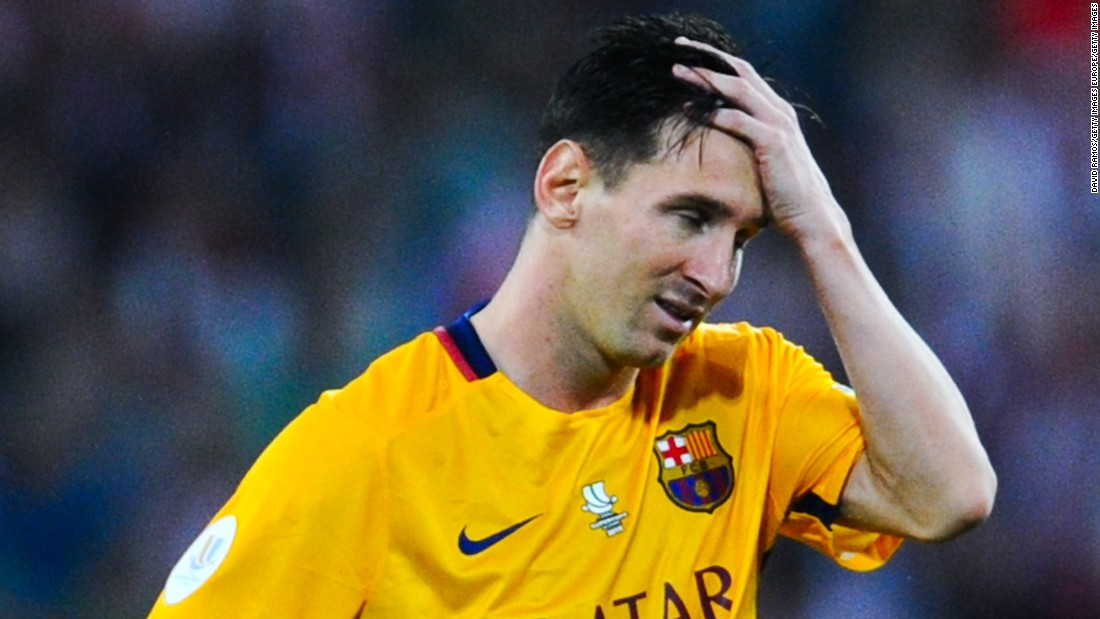 Lionel Messi was left dejected after Barcelona's crushing defeat in Bilbao.
